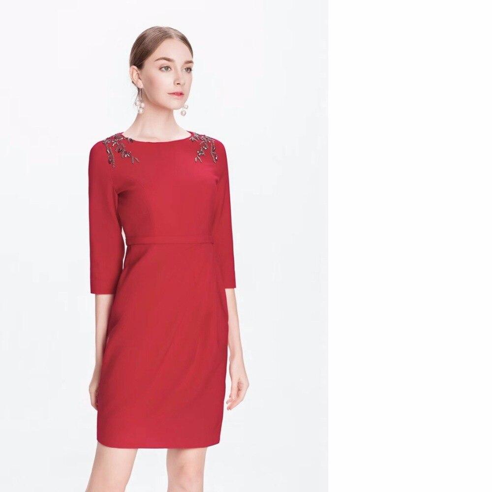 cd1631ab313b Épaule Slim 4 3 Blue Perles Vêtements Robe Cocktail Femmes Festa Plus  Manches 2018 red Automne La Gaine Robes Xxxl Moulante Taille ...