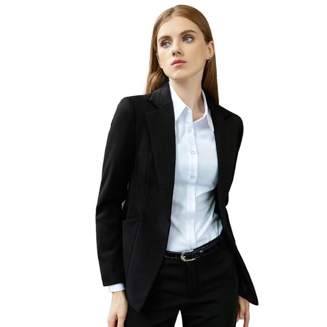 5e035dece3532 Plus Size Ladies Suit Jacket Autumn Winter Office Work Blazer Women Elegant  Blouson Preto Womens Business
