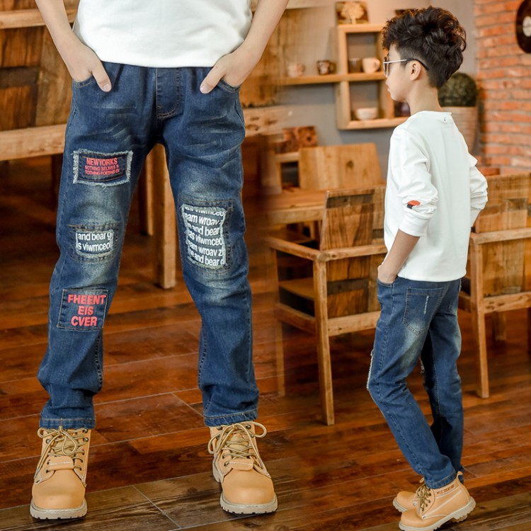 2018 Boys Pants Pioneer Kids Boy Jeans Elastic Waist Casual Jeans Spring Autumn Boys Jeans Children's Fashion Teenager Trousers bazaleas flower embroidered mom jeans female blue casual pants capris spring pockets jeans bottom casual pant
