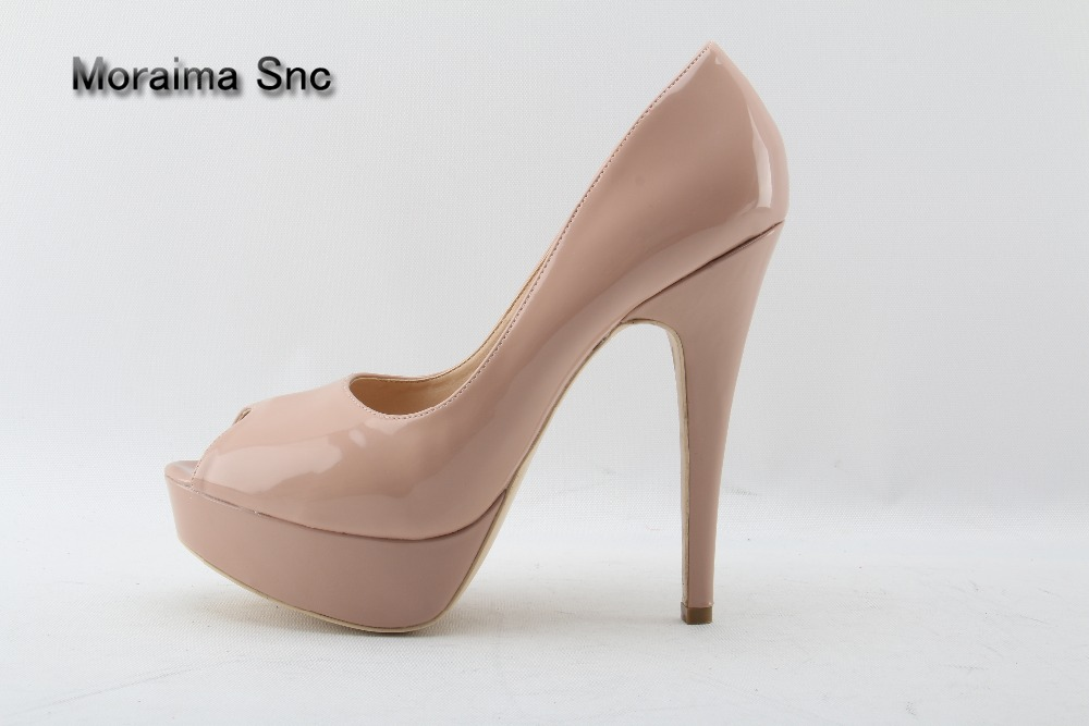Moraima Snc Nude Patent Leather Woman High Heels Pumps 14CM Peep-toe Banquet Stiletto Heel Slip-On Platform Heel Shoes Big Size big size high spike heel platform women pumps peep open toe leopard patent leather party wedding slip on sexy lady thin stiletto