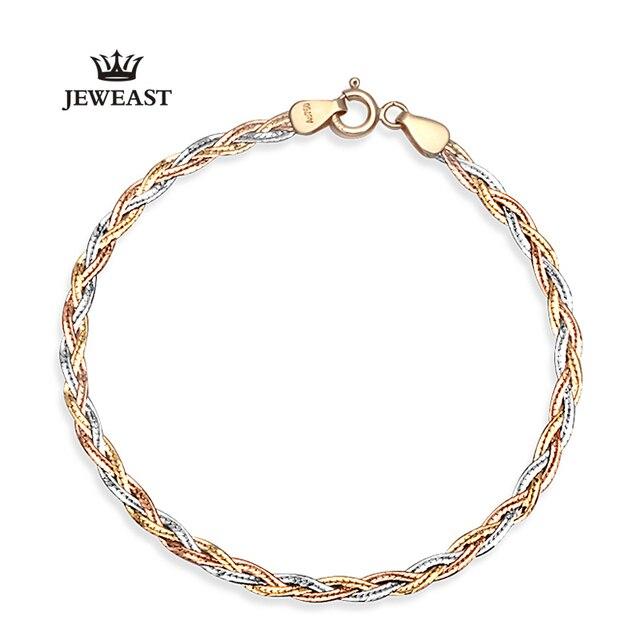 Jeweast novo 2017 anthentic 18 k pulseiras de ouro para as mulheres pulseira do sexo feminino mão em três linhas de diamante-jóias para a festa de casamento