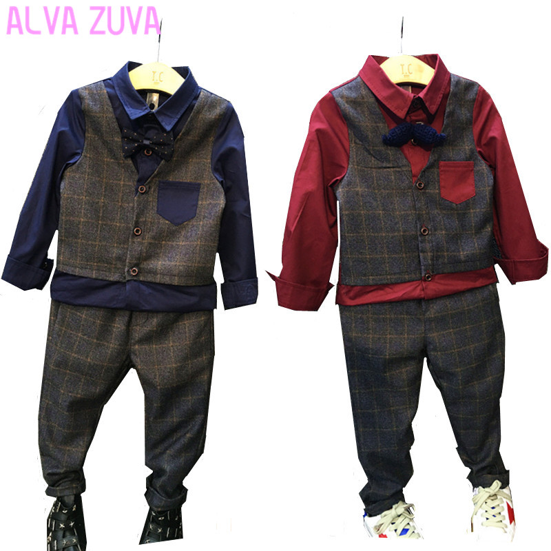 Gentleman 2017 Children Wedding Suits Boys Vest Shirts+Pants 2Pcs/sets Kids Formal Party Long-Sleeved Suit For Boy 3-10T top and top children boys clothing sets vest shirt pants 3 pcs set gentleman kids boy party clothes suits