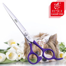 Fenice Purple Professional Pets Grooming Cutting Scissors 6.75 inch Japan 440C Shears for Dogs Cats purple dragon 8 inch rainbow shears for dogs 360 degree rotation dog grooming goods
