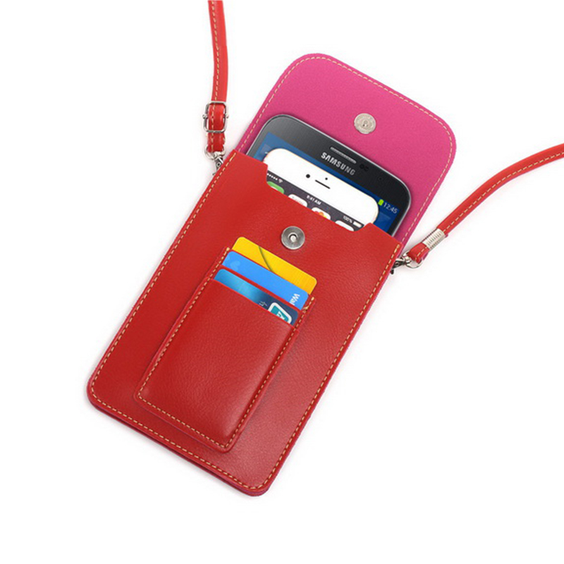 Fashion Double Pockets Holster Bag With Card Pouch Leather Case For Samsung galaxy S3 S4 S5 mini S6 S7 edge Cover 6.3 Below