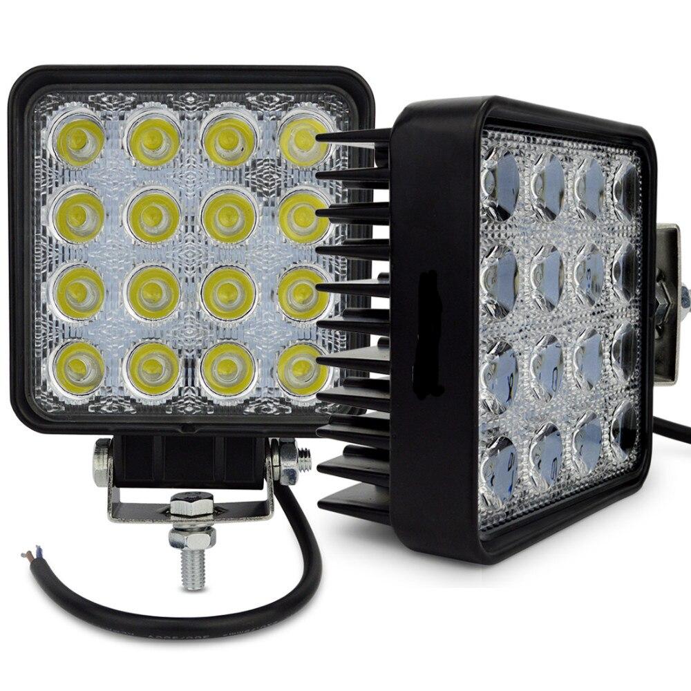 2pcs 4INCH 48W LED WORK LIGHT OFFROAD fog lamp Flood/spot flood 24V 12V led tractor work lights off road 4X4 car ATV BOAT