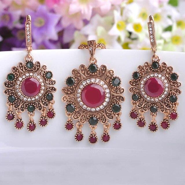Retro Loyal Vintage Jewelry Sets Turkey Necklace Earring Set Bijoux For Women Banquet Party Blue Turkish Pendant Long Pendientes