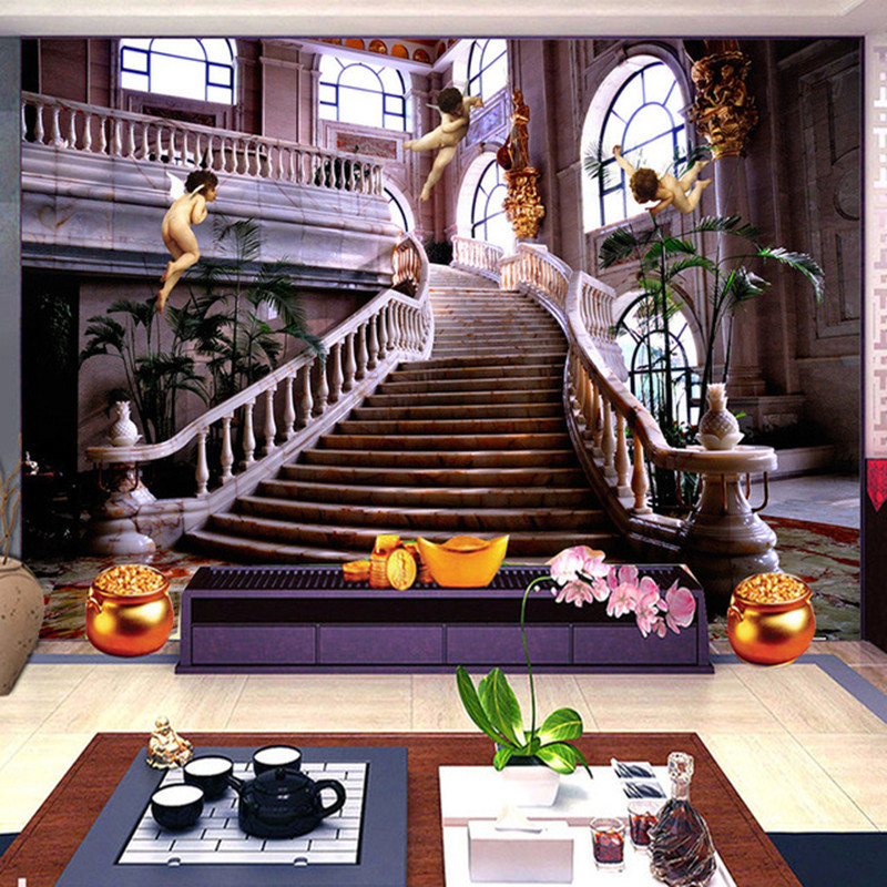 Custom 3D Photo Wallpaper Murals European Style Church Angel Stairs 3D Wall Mural Hotel Hall Living Room Landscape Wall Papers custom photo wallpaper 3d wall murals balloon shell seagull wallpapers landscape murals wall paper for living room 3d wall mural