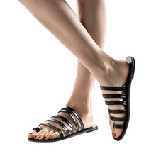 Flat Heel Strap Roman Shoes