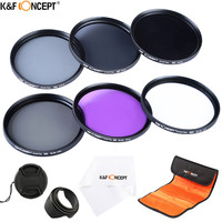 K&F CONCEPT 55mm Slim UV CPL FLD ND2 ND4 ND8 Neutral Density Filter Kit+Lens hood/Cap/Pouch for Sony A55 A55 A57 A65 DSLR Camera