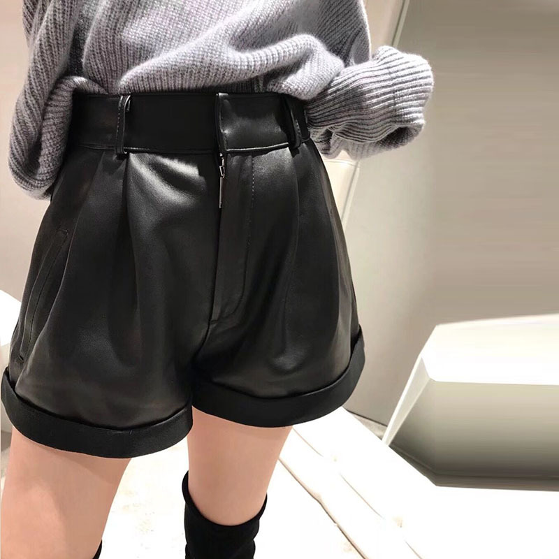 New Victoria  Star Same Shorts Sheepskin Leather Leather  Waist High Waist Wide Legged  Shorts