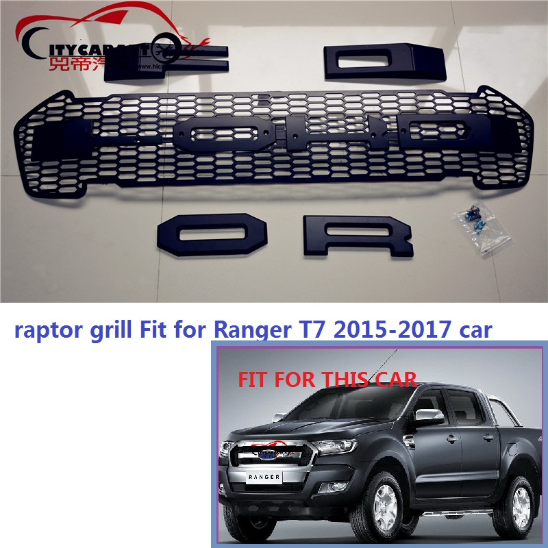 CITYCARAUTO front black Racing grill grille ABS black front trim for Ranger wildtrak T7 txl pickup raptor grill 2015-2017 high quality abs chrome 2pcs up grill trim lower grill trim grill decoration trim grill streamer for honda city 2015 216