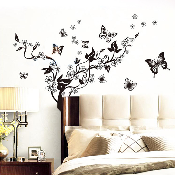 Black Wall Mural Decal Wall Stickers Butterfly Flowers Tree Home Office Wall  Sticker Decor Vinyl Art Free Shipping In Wall Stickers From Home U0026 Garden  On ... Part 40