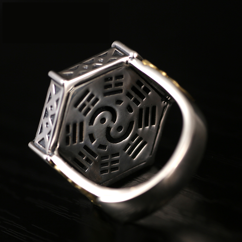 Image 3 - Skills old silversmith 100% 925 Silver old nine door with male  personality the Buddha ring with William ring opening ring925  silversilver 925ring 925 silver