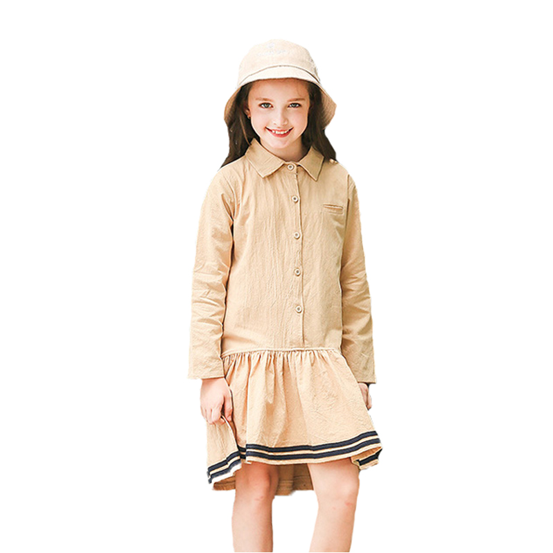 2017 Children Kids Dress Autumn  Long Sleeve Cotton Linen Loose Big Girls Clothes Euro-preppy Clothes Dress Casual Dresses 6-16T belababy baby girls preppy style dress princess children autumn double breasted cute kids casual long sleeve dresses for girls