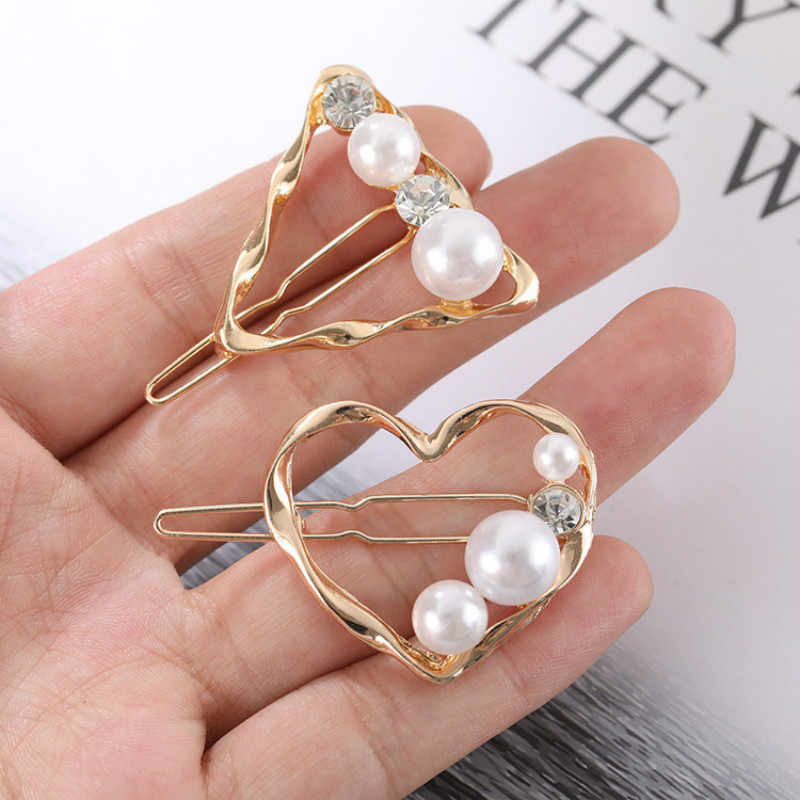 Korea Hollow Heart Star Hair Clips Women Hair Accessories Imitation Pearl Crystal Gold Color Triangle Circle Hairpins Hairgrip