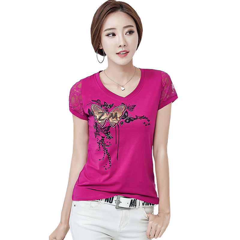 Camisetas Mujer 2017 Summer Tshirt Women Lace Short Sleeve Lady T Shirt Printing Styles Womens T