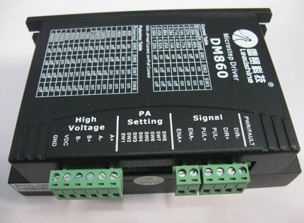 Leadshine DM860 2 Phase 32-Bit DSP Digital Stepper Drive of 20 - 80 VDC Input Voltage and 2.4 - 7.2A Output Current new leadshine dm2282 cnc high voltage digital stepper drive 2 phase working 80 220vac 0 52 8 2a push output nema34 and nema