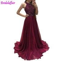 Длинное шифоновое платье для выпускного вечера с высоким вырезом и бусинами, ТРАПЕЦИЕВИДНОЕ вечернее платье sarahbridal, длинное вечернее плать