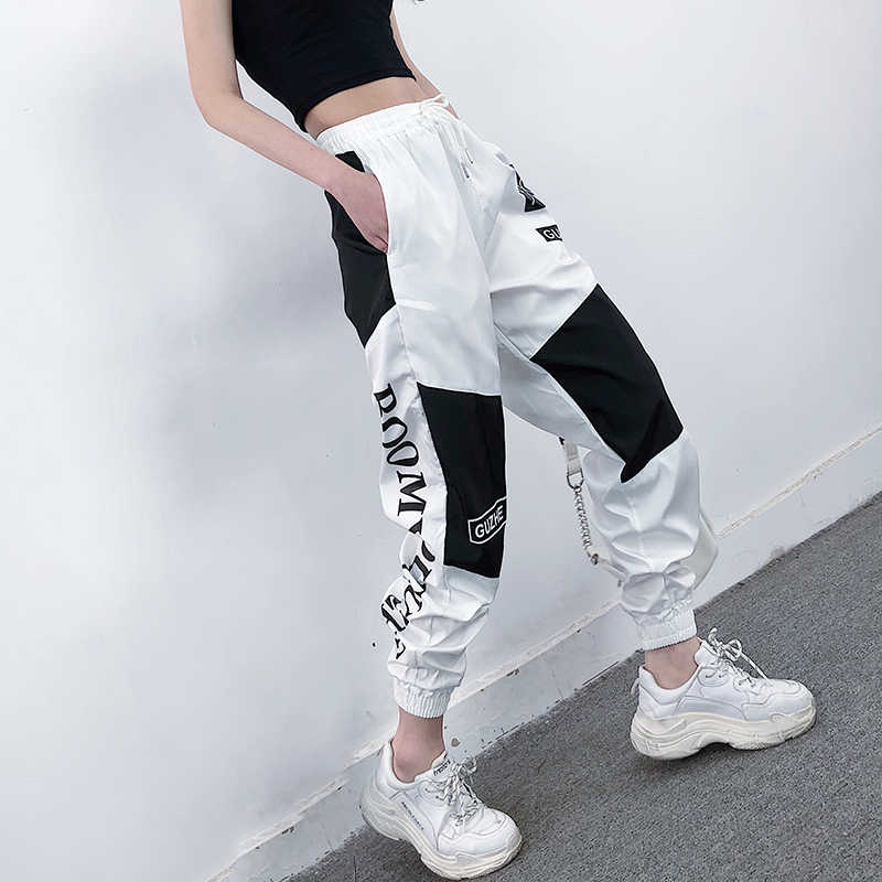 High Waist Letter Spliced Cargo Pants Women Loose Harajuku BF Ankle-Length Overalls Pants Plus Size Hip Hop Women's sports pant