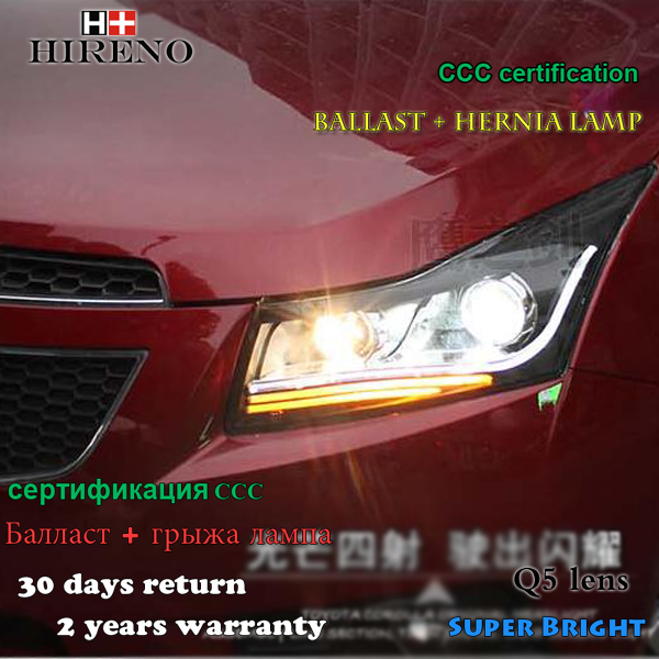 Hireno Headlamp for 2010-2014 Chevrolet Cruze Headlight Assembly LED DRL Angel Lens Double Beam HID Xenon 2pcs чехол на сиденье skyway chevrolet cobalt седан ch2 2