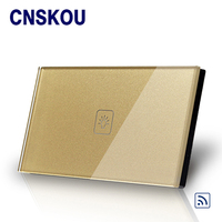 Cnskou US standard 1gang wireless remote control light touch switch gold crystal glass panel for smart touch sensor switch