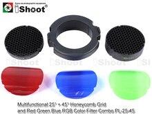 Многофункциональный 25/45 градусов сотовая + обложка + красный-зеленый-синий RGB цветных фильтров комплект для сноб вспышки Softbox диффузор