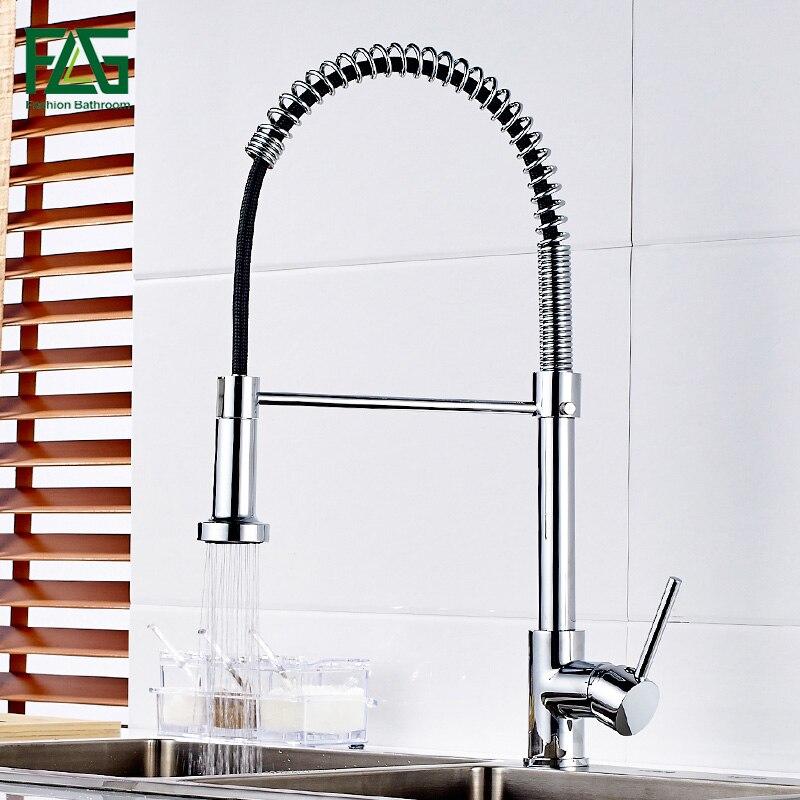 FLG Küche Wasserhahn Pull Out Deck Montiert Einzel Loch Griff küche Waschbecken Mischbatterie Chrom-finish Wasserhahn für Küche Torneira