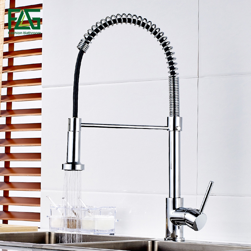 FLG Kitchen Faucet Pull Out Deck Mounted Single Hole Handle kitchen Sink Mixer Tap Chrome Finish Faucet for Kitchen Torneira luxury pull out chrome brushed nickel finish kitchen faucet mixer single hole deck mounted