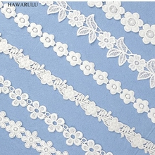1pcs 2yard DIY New lace fabric ribbon white hollowed three-dimensional embroidery water soluble wholesale double barcode