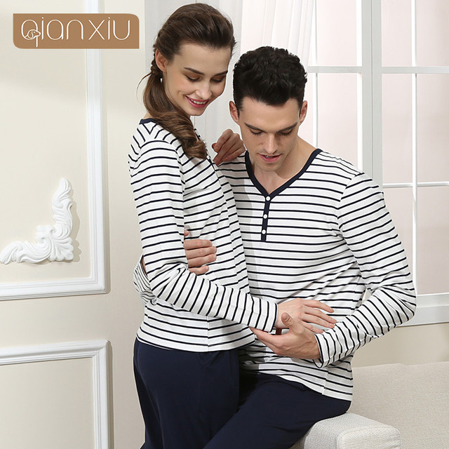 Qianxiu Autumn Couples Sleep & Lounge For Men Classic Stripe Pajama Set Cotton Sleepwear Suit Casual Style Pyjamas Sets 1546