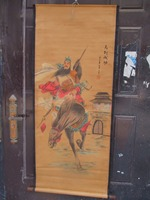 Collection Home wall decoration painting ,Chinese old paper scroll painting Guangong Riding a horse Figure Painting