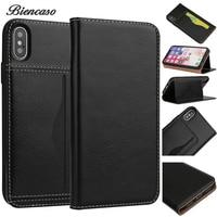 Iphone用7 7プラスケースcapa本革ケースのためのiphone × 10フリップカバー財布スタイル用iphone 8 8プラス真皮シェルバッ
