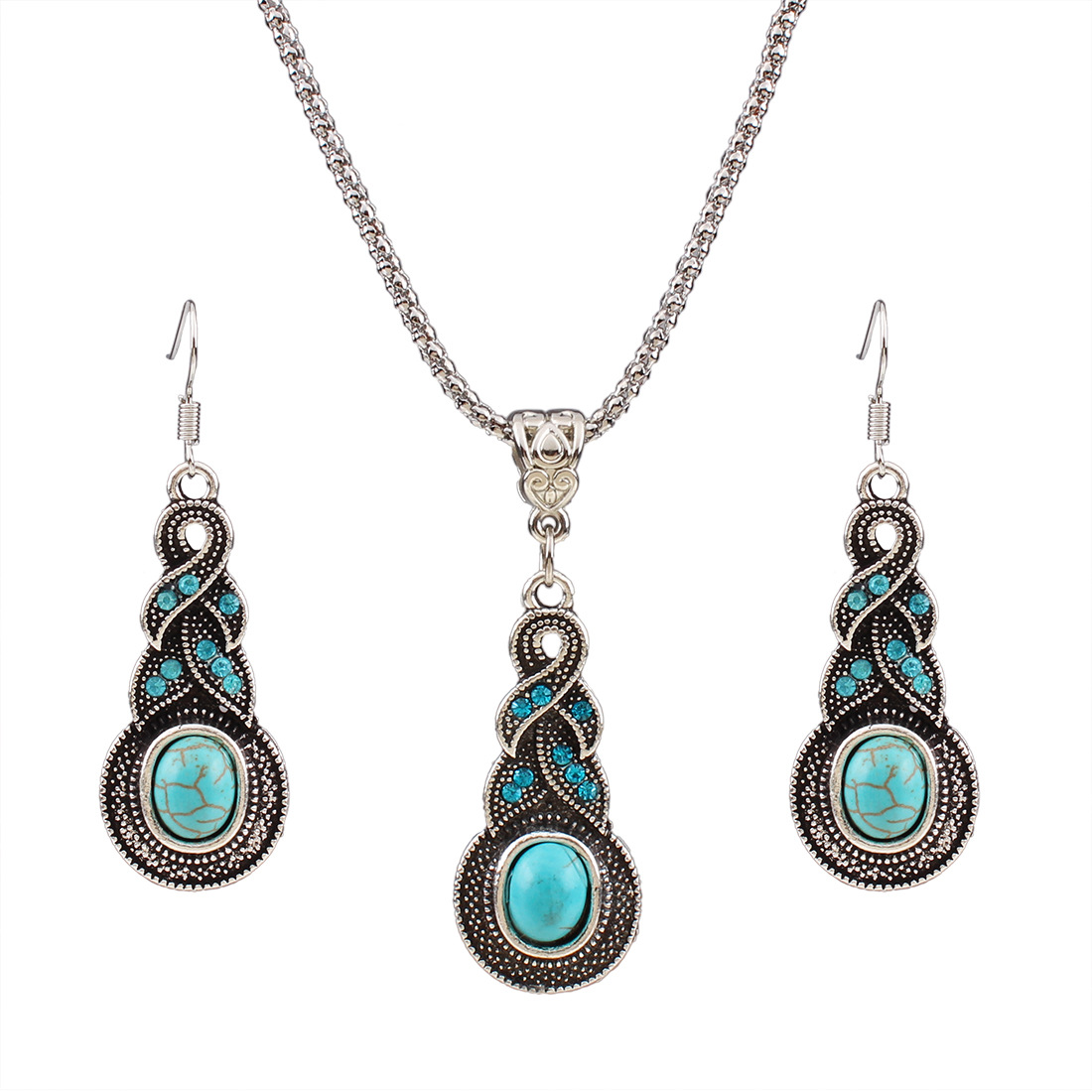 Top Sale Women Necklace silver plated with earrings jewelry sets for women party gift chokers statement neckalces sets