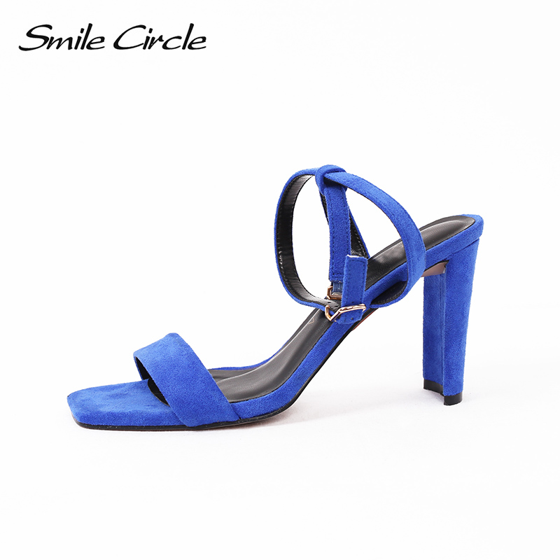 Smile Circle 2018 Summer Sexy Sandals Women Fashion high heels Women Sandals Female shoes Square head Open toe Woman Sandals msfair women square toe wedges sandals fashion butterfly crystal high heels woman sandals 2018 new summer women high heel shoes