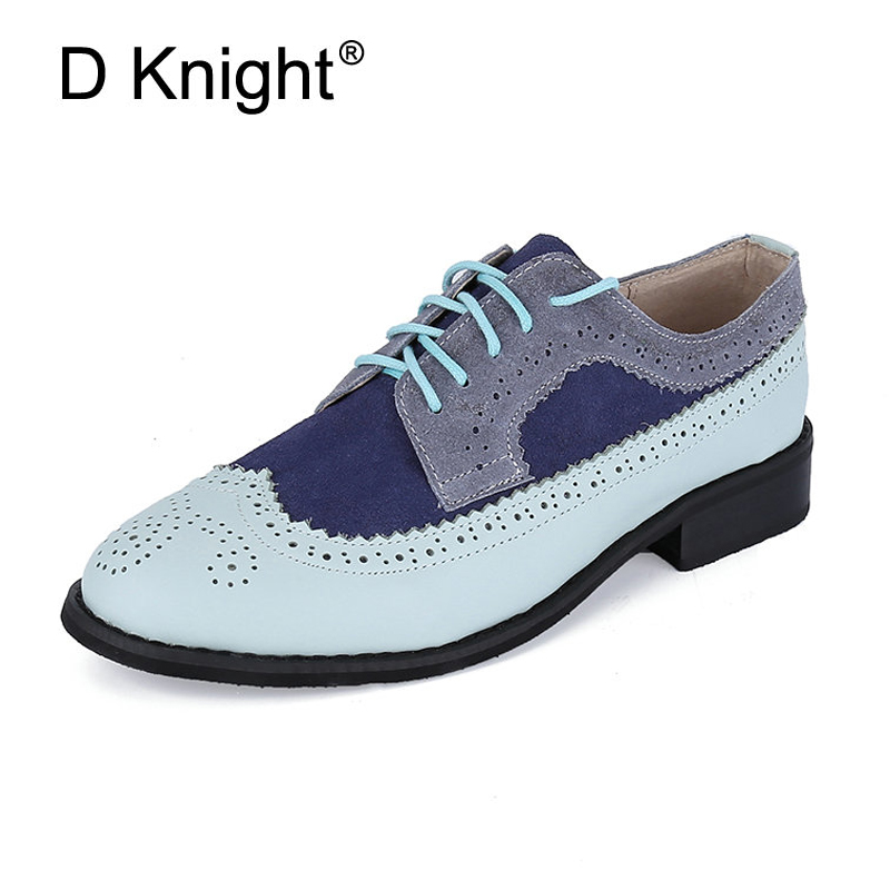 Vintage 100% Genuine Leather Flats Womens Spring Autumn Lace Up Casual Brogues Shoe Woman US Size 44 45 Oxford Shoes For Women