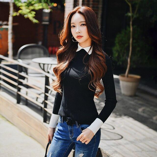 Dabuwawa Autumn Winter Sweater 2018 New Fashion Lady Slim Thin Contrast Color Lapel Base Sweater #D18DJS022