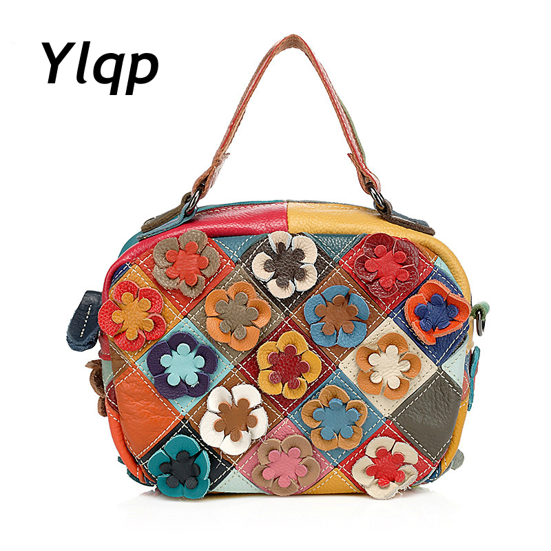 Fashion Famous Brand Genuine Leather Women Handbag European and American Style Colorful Plaid Patchwork Bag Casual Shoulder Bag rdywbu brand genuine leather tote handbag 2017 women colourful flowers patchwork shoulder bag plaid messenger crossbody bag b293