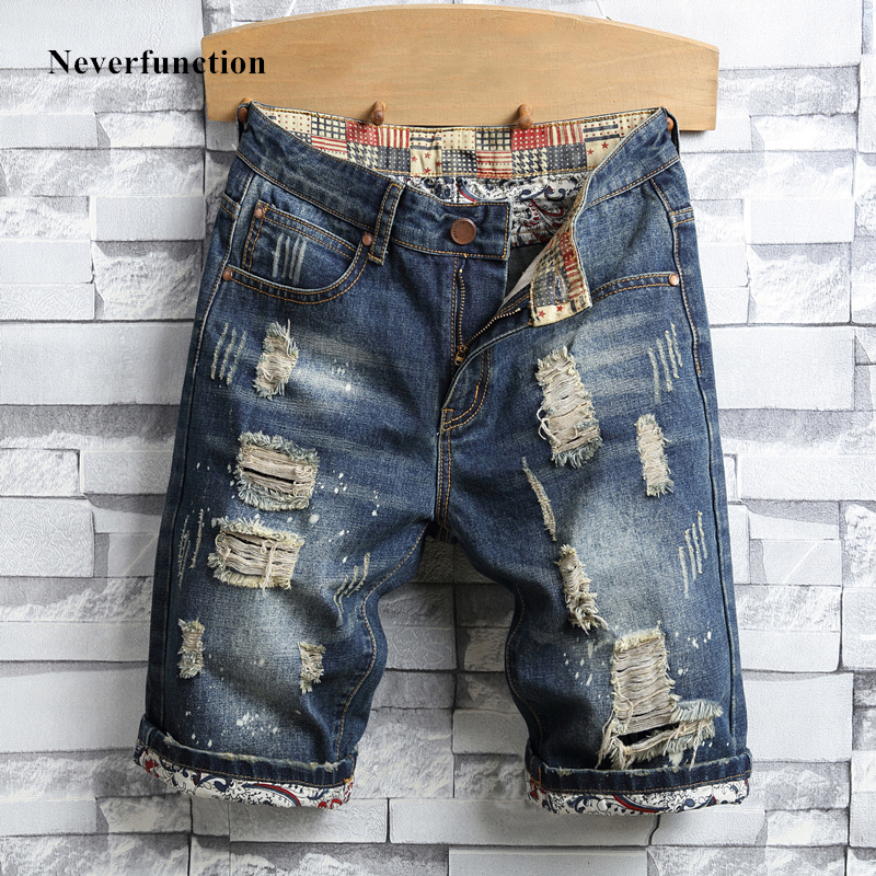 New Streetwear Men Vintage Ripped Jeans Short Bermuda Retro Holes Casual Loose Summer Straight Denim Shorts Male Size 28-40