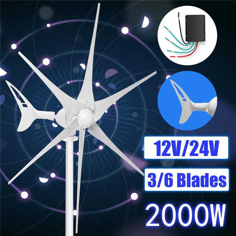 2000 W 3/6 Blade + contrôleur éoliennes 12/24 volts d'énergie éolienne horizontale ajuster automatiquement la queue de direction du vent