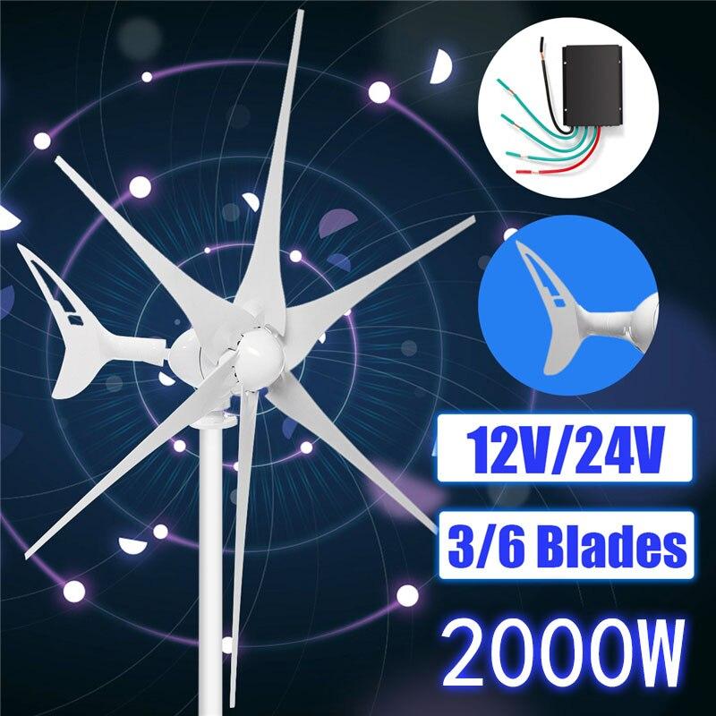 2000 W 3/6 Lâmina + Controlador de Turbinas de Vento Horizontal Gerador de Energia Eólica de 12/24 Volts ajustar Automaticamente a direção do vento de cauda