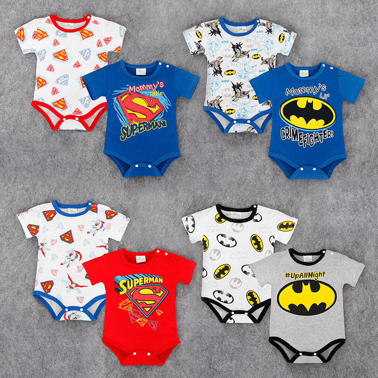 Little Superman Baby Boy Cotton Triangle   Rompers   Letter Printing Kids Climbing Suits Short Sleeves Bebe Roupas Ha Clothes