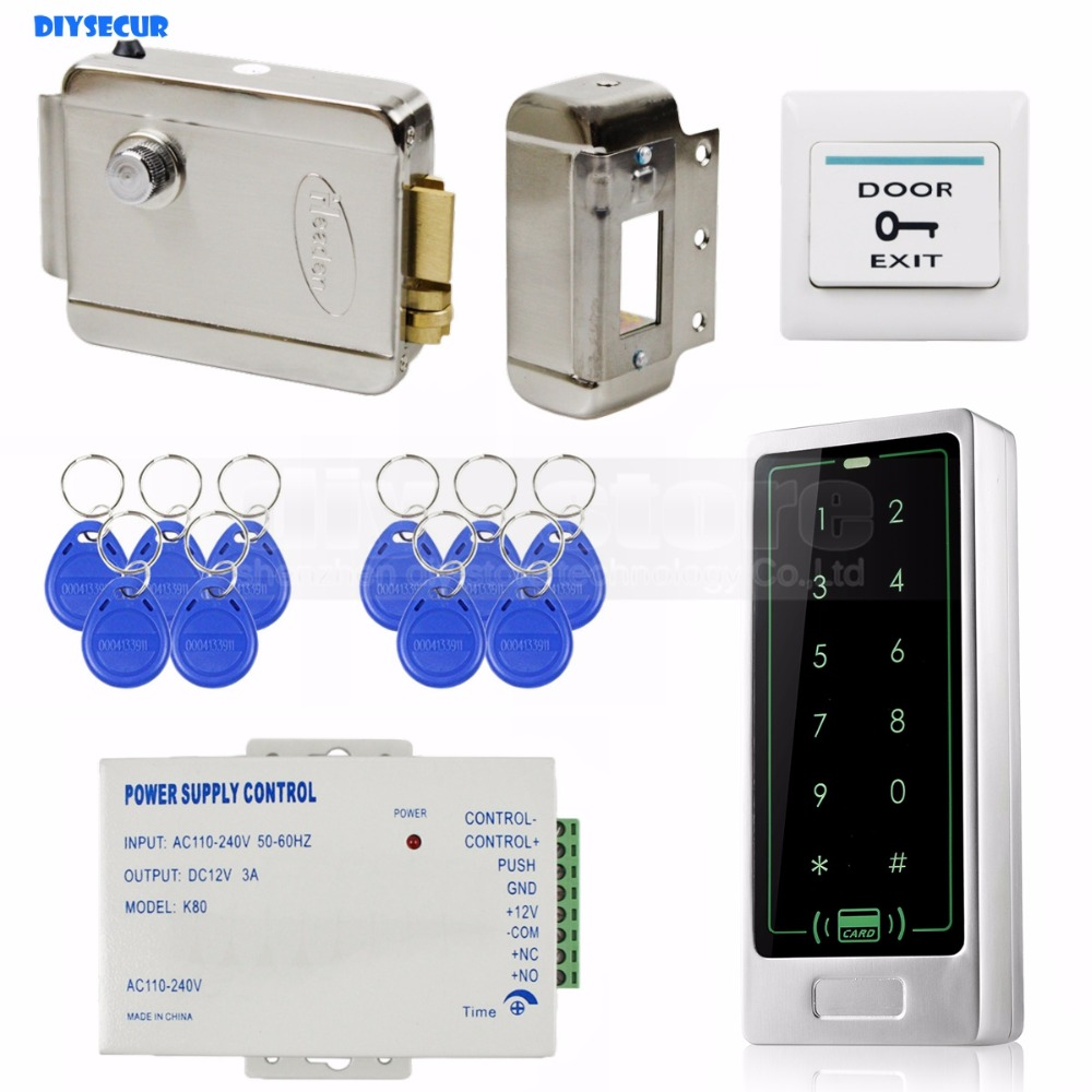 DIYSECUR 125KHz RFID Reader Password Keypad Door Access Control Security System Kit + Electric Lock 8000 UsersDIYSECUR 125KHz RFID Reader Password Keypad Door Access Control Security System Kit + Electric Lock 8000 Users