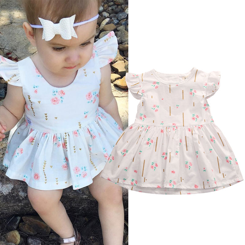Cute Summer Floral Infant Toddler Baby Girl Ruffle Sleeve White Princess Dress Wedding Party Kids Tutu In Dresses From Mother On Aliexpress