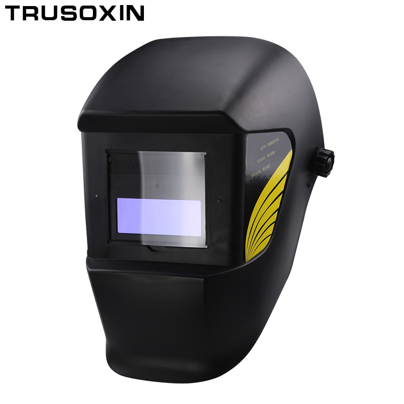 MASO Auto Darkening Solar Powered Welding Helmet Welding Masks with 5 Spare Lens Washable and Adjustable Head Band View Window Size: 42 /× 92 mm Solar-Cell Powered Blue Decal Welding Helmet