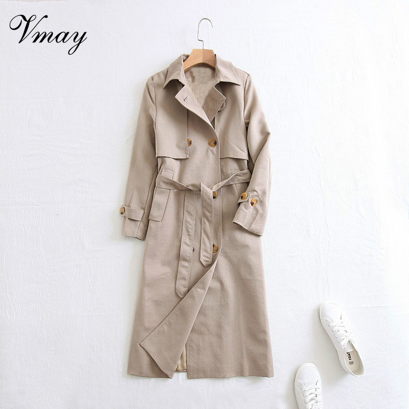 Vmay 2018 New Arrival Women Fashion Solid Color Autumn Winter Lapel Long Double-breasted Epaulettes Trench Coat Female