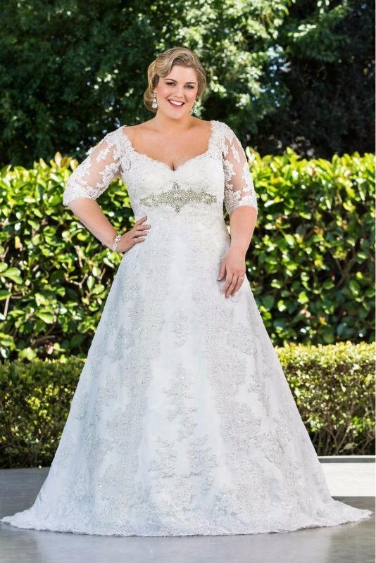 Moda romántico vestido de novia 2017 3/4 mangas apliques de encaje con cuentas d