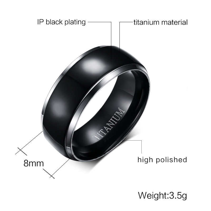 Meaeguet Classic 100 Titanium Wedding Rings For Men Black Rock Punk