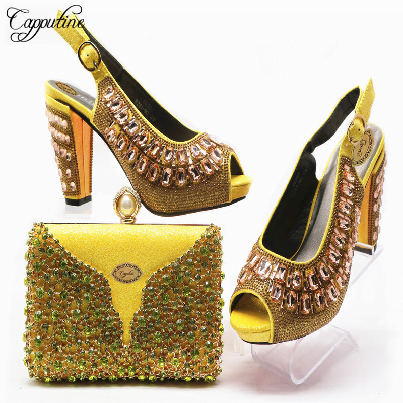 rot Schuhe Hochzeit Tasche Damen Mit Himmel Für fuchsia Capputine Italienischen Nigerian blau Set gelb purpurrot Strass Heels Verziert Kleid Hig Und fEpwHxwq