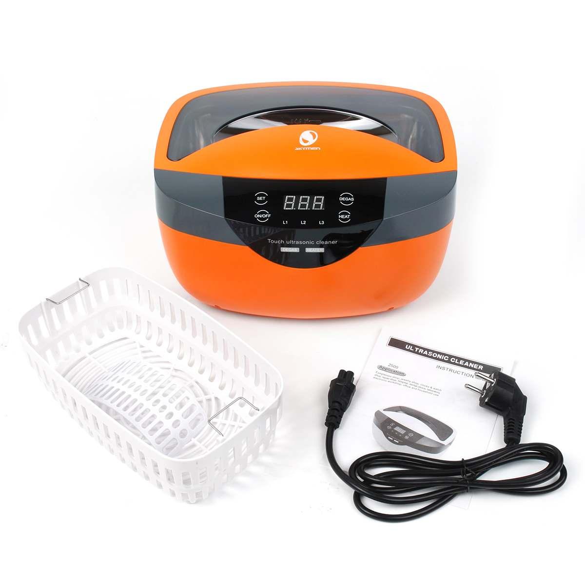 EU Plug 2500ml Ultrasonic Cleaner Bath 220V Timer Intelligent Jewelry Cleaner For Jewelry Glasses Razor Brush Waterproof Watch