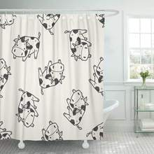 Fabric Shower Curtain With Hooks Agriculture Cow Doodle Animal Beef Bull Calf Cattle Dairy Domestic